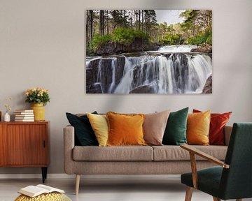 Close-up von einem Wasserfall von Marloes van Pareren