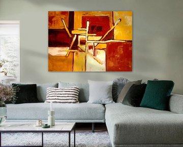 Abstract geel en bruin