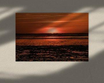 Zonsondergang Ternaard (Frl) van Jakob Huizen van