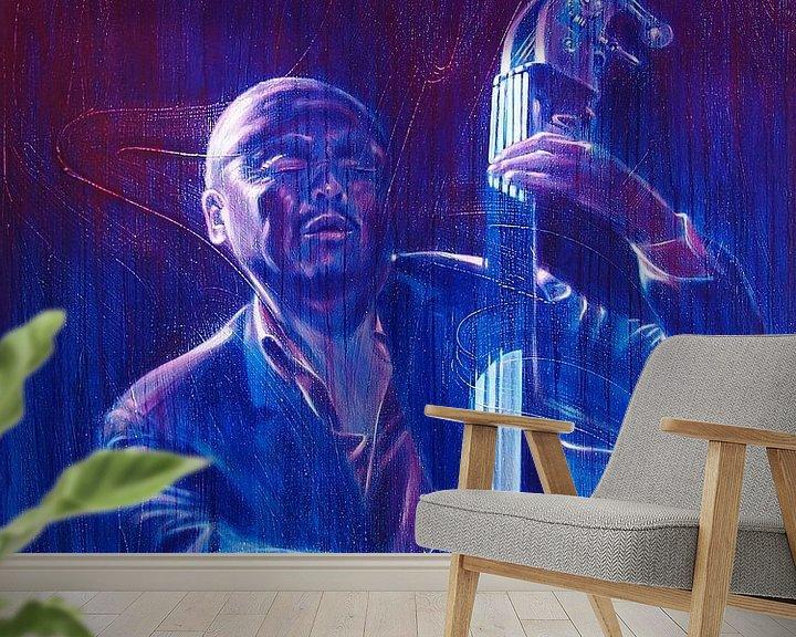 Sfeerimpressie behang: Jazz-Bassist / Bass Player van Frans Mandigers