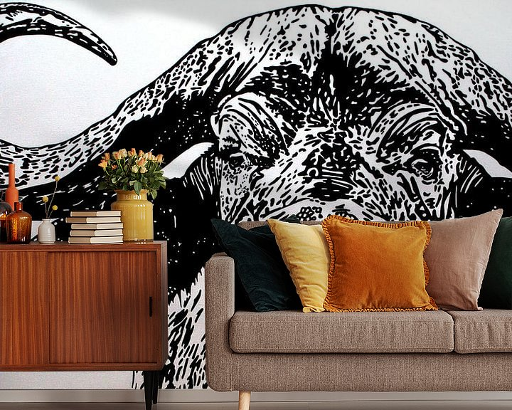 Beispiel fototapete: Bruce, de kaapse buffel von Irene Jonker