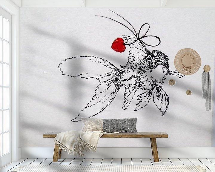 Sfeerimpressie behang: HeartFlow Goudvis van Helma van der Zwan