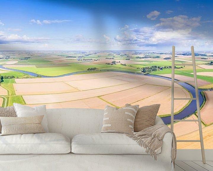 Sfeerimpressie behang: Reitdiep Groningen van Boven (3:1 panorama) van Frenk Volt