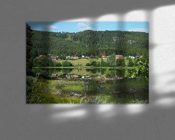 huisjes aan een fjord in noorwegen van Compuinfoto .
