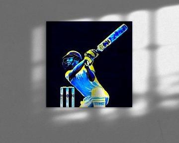 Cricket Sport Art Batter kleurrijk en vierkant von Frank van der Leer