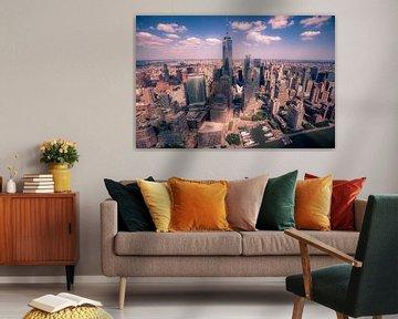 Skyline van Lower Manhattan in New York City van Sander Knoester