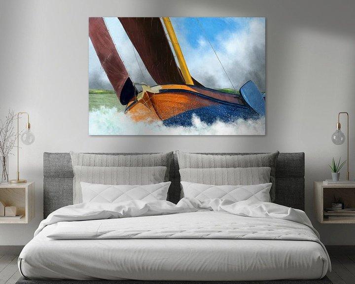 Sfeerimpressie: Stormachtig weer skûtsje zeilschip van Jan Brons