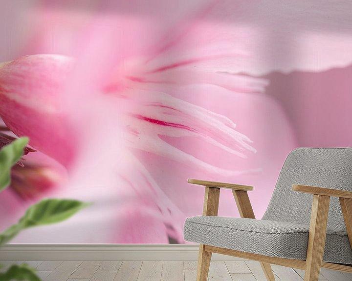 Sfeerimpressie behang: Roze bloem van Kimberly van Aalten