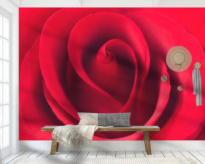 Sfeerimpressie behang: Rode Roos van Kimberly van Aalten