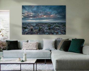 Zonsondergang stad Utrecht vanaf de Domtoren! von Peter Haastrecht, van