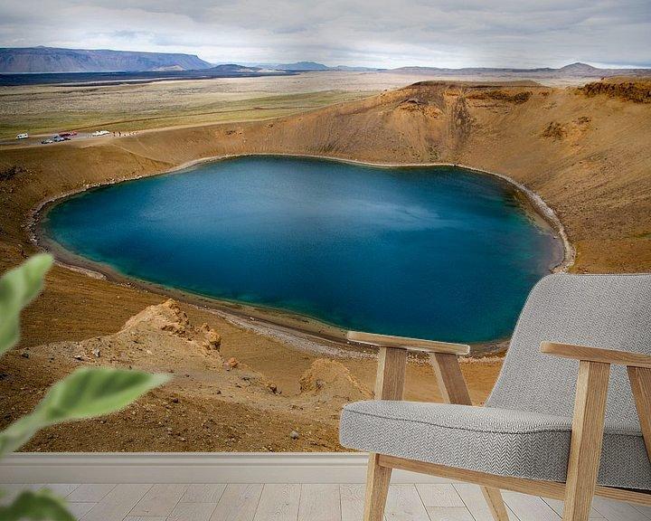 Sfeerimpressie behang: Kratermeer Krafla op IJsland van Menno Schaefer