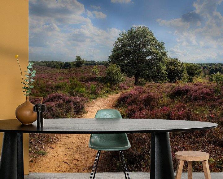 Beispiel fototapete: Heath landscape with purple heather flowers von Tim Abeln