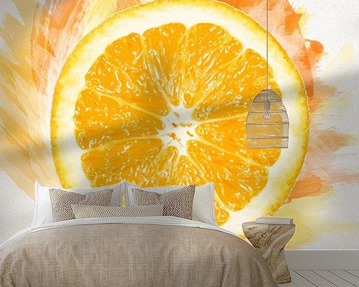 Sfeerimpressie behang: Fruities Sinaasappel van Sharon Harthoorn