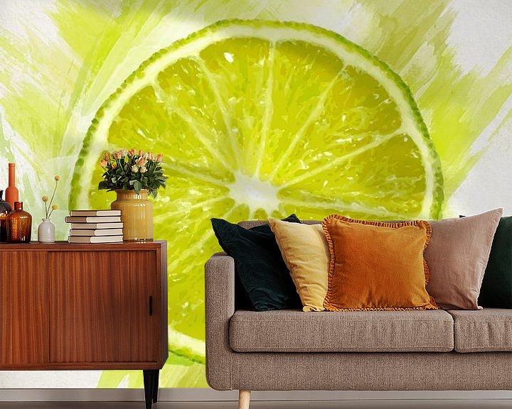 Sfeerimpressie behang: Fruities Limoen van Sharon Harthoorn