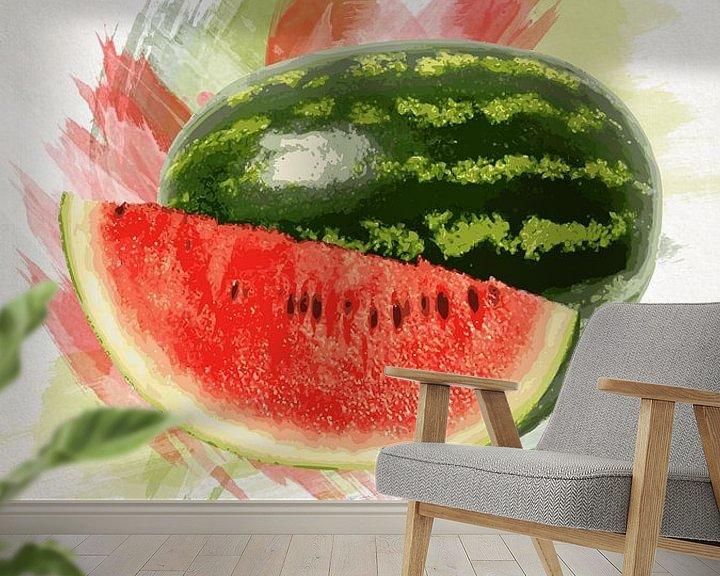 Sfeerimpressie behang: Fruities Watermeloen van Sharon Harthoorn