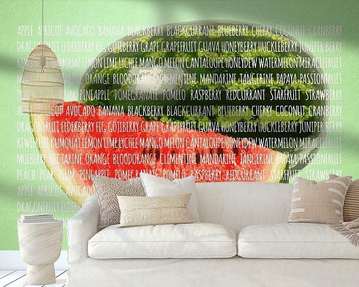 Sfeerimpressie behang: Fruities in kleur Watermeloen van Sharon Harthoorn