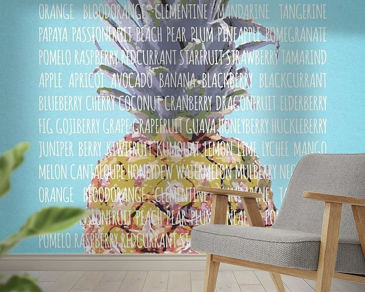 Sfeerimpressie behang: Fruities in kleur Ananas van Sharon Harthoorn