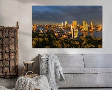 Laatste zonlicht over de mooie skyline van Rotterdam von Jos Pannekoek