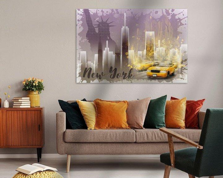 Sfeerimpressie: Graphic Art NEW YORK Mix No. 6 | purple | splashes van Melanie Viola