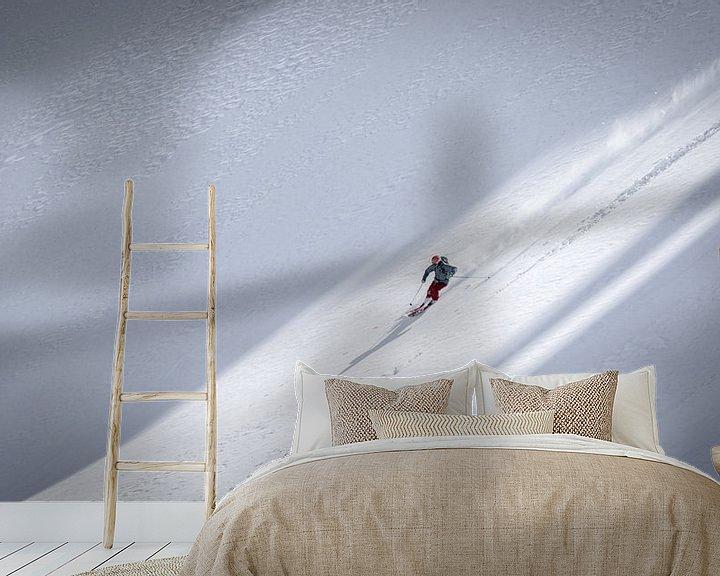 Sfeerimpressie behang: Freeride ski van Martijn Hinrichs