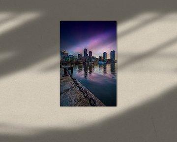 BOSTON Fan Pier Park & Skyline Boston zum Sonnenuntergang von Melanie Viola