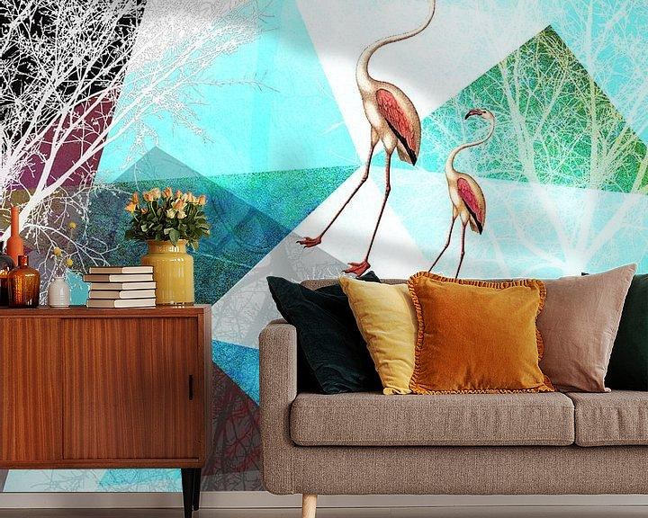 Sfeerimpressie behang: Flamingo P20-A van Pia Schneider