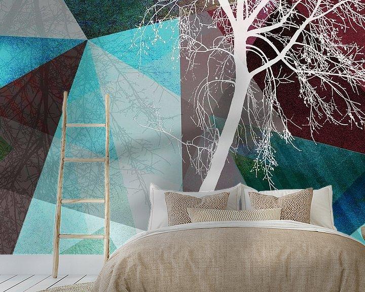 Sfeerimpressie behang: LONELY TREE III van Pia Schneider
