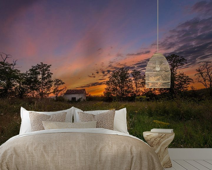 Beispiel fototapete: Lonely shed @ sunset I von Marcel de Groot