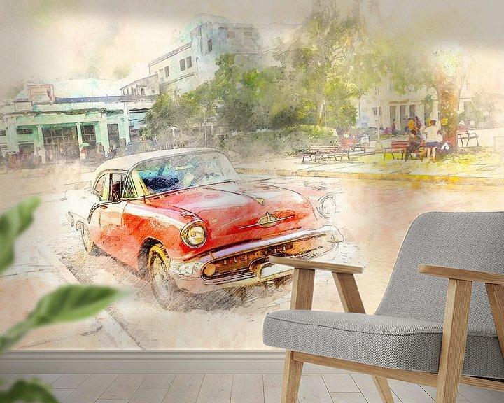 Sfeerimpressie behang: Cuba rode oldtimer van Arjen Roos