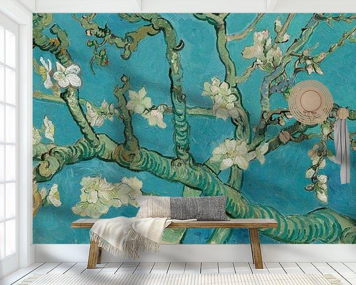 Sfeerimpressie behang: Amandelbloesem schilderij van Vincent van Gogh, panorama versie