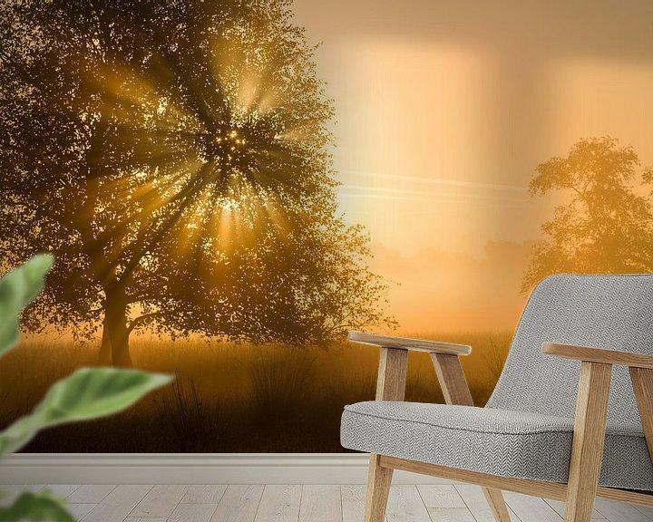 Sfeerimpressie behang: Gouden licht op de Strabrechtse heide van Joep de Groot