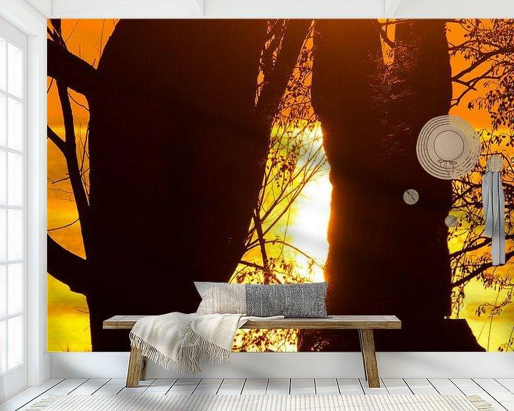 Sfeerimpressie behang: Sunset / Zonsondergang van Erik van Riessen