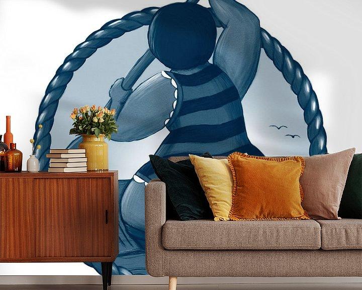 Sfeerimpressie behang: Vet Wuuf's boottocht op zee van Bianca van Duijn
