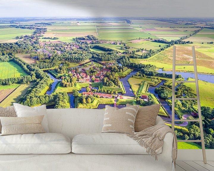 Sfeerimpressie behang: Vestingdorp Bourtange vanuit de Lucht van Frenk Volt
