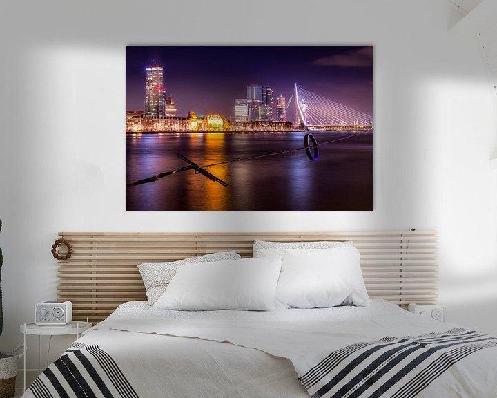 Sfeerimpressie: Rotterdam Skyline bij nacht van Stefan Fokkens