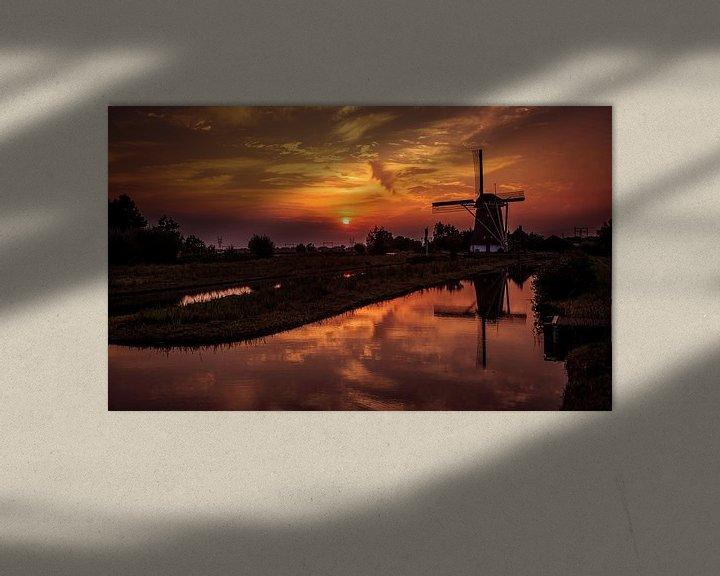 Sfeerimpressie: Windmolen bij zonsondergang van jody ferron