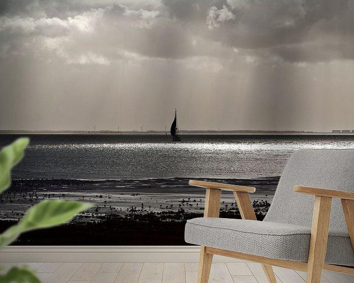 Sfeerimpressie behang: Uitzicht waddenzee vanaf Schiermonnikoog van Marlon Mendonça Dias