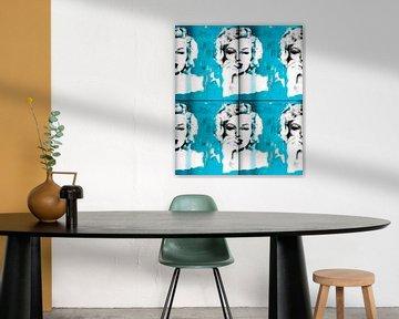 Marilyn Monroe light blue Collage  von Felix von Altersheim