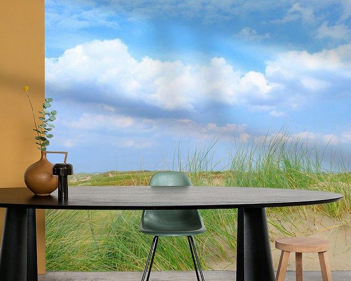 Sfeerimpressie behang: Zomer in de duinen bij het Noordzee strand van Sjoerd van der Wal