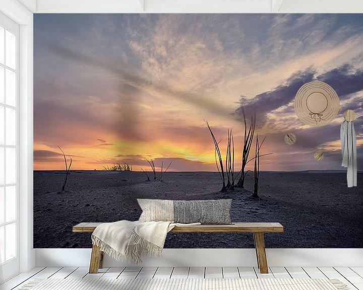 Sfeerimpressie behang: Helmgras op strand Schiermonnikoog van Edwin van Wijk