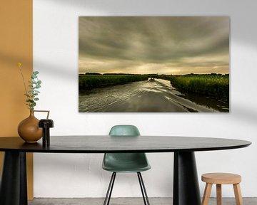 Avondzon boven de Groninger maren van Bo Scheeringa Photography