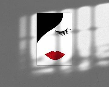 weibliches Gesicht abstrakt von Marion Tenbergen