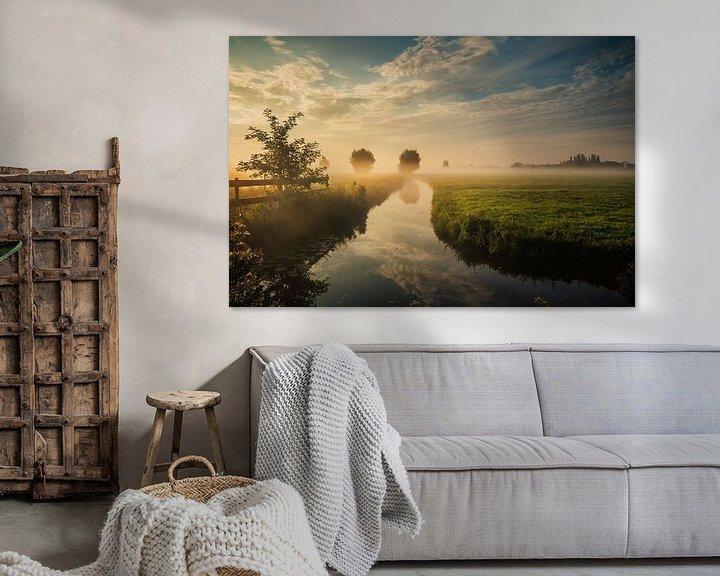 Sfeerimpressie: Dutch landscape with morning fog van Ilya Korzelius