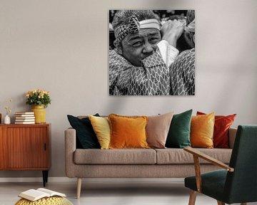 Porträt traditionellen Mann aus Japan von Loek van de Loo