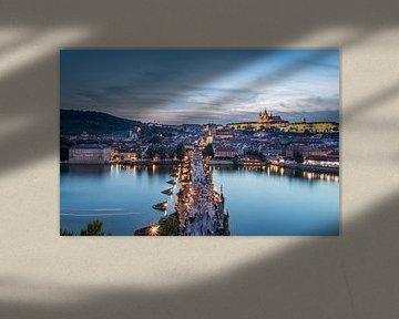 Zonsondergang in Praag, Tsjechië van Sem Wijnhoven