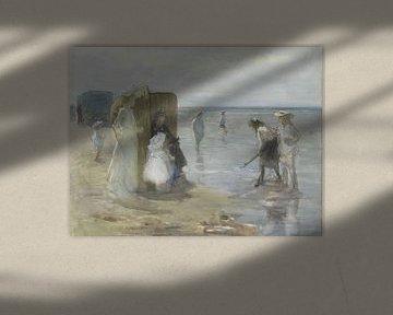 Gezicht langs de vloedlijn aan het Scheveningse strand, met twee dames en kinderen - Johan Antonie d