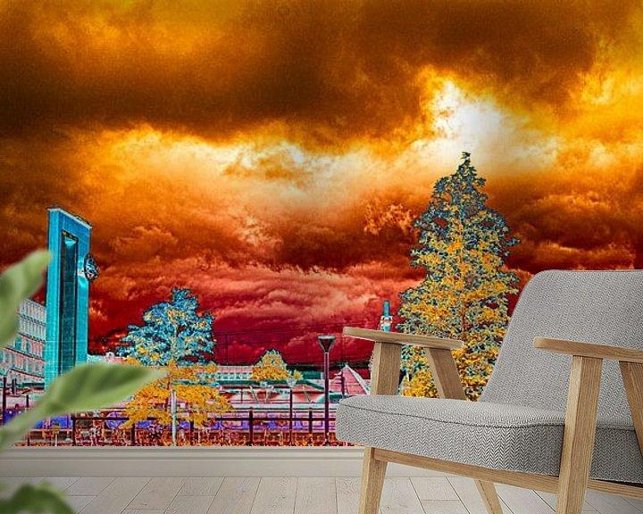 Beispiel fototapete: Skyline Almelo bunt von Freddy Hoevers