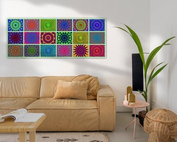 Retro-Rosetten (Panorama mit Mandalas) von Caroline Lichthart
