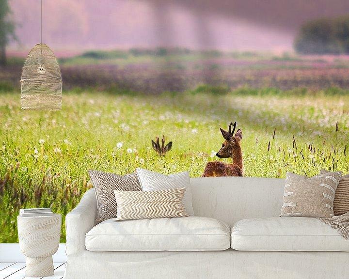 Sfeerimpressie behang: Herten in het veld van Jurgen Cornelissen
