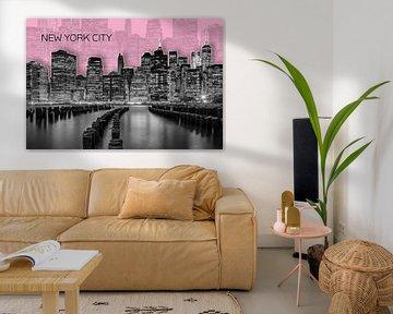 MANHATTAN Skyline | Graphic Art | rosa von Melanie Viola